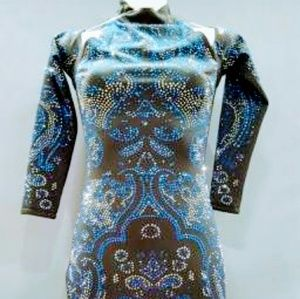 Womens Black dress with blue and silver crystals